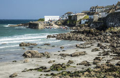 Beach and harbour at Coverack in Cornwall, England Stock Photography