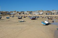 Beach and harbour at Saint Ives, Cornwall, England Royalty Free Stock Photos