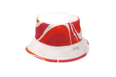 Beach Hat. Coloured coton beach hat (orange, red and white) isolated on white background Royalty Free Stock Photo