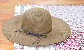 Beach hat. On elephant pattern cloth royalty free stock photos