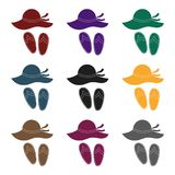 Beach hat with flip-flops icon in black style on white background. Family holiday symbol stock vector. Beach hat with flip-flops icon in black design on white royalty free illustration