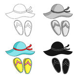 Beach hat with flip-flops icon in cartoon style isolated on white background. Family holiday symbol stock vector. Beach hat with flip-flops icon in cartoon vector illustration