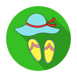 Beach hat with flip-flops icon in flat style isolated on white background. Family holiday symbol stock vector. Beach hat with flip-flops icon in flat design vector illustration