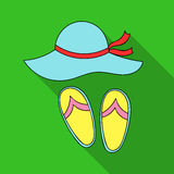 Beach hat with flip-flops icon in flat style isolated on white background. Family holiday symbol stock vector. Beach hat with flip-flops icon in flat design royalty free illustration