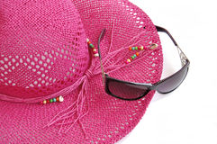 Beach hat and glasses. Royalty Free Stock Images