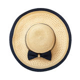 Beach hat with ribbon and bow on white background top view isolated Stock Photos
