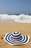 Beach hat and sea Stock Photo