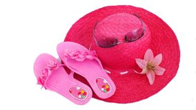 Beach hat and slippers Royalty Free Stock Photography
