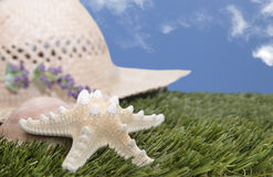Beach hat with starfish on grass. Straw hat on grass with starfish and blue sky Stock Photography