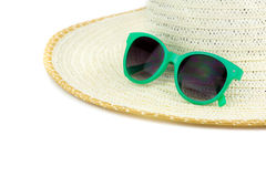 Beach hat and sun glasses Royalty Free Stock Image