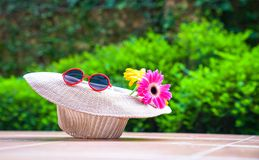 Beach hat with sunglasses and gerbera daisy flowers. With green nature background. Summer holiday or vacation concept stock image