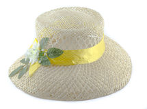 Beach hat. On a white background royalty free stock photography