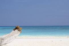 Beach hat with white sand beach. Thailand royalty free stock photos