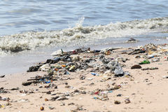 The beach have a garbage and effluents. Royalty Free Stock Photo