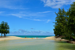 Beach in The Hawaii. The overall beach view of O`Hau Island Stock Image