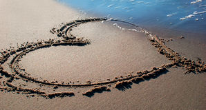 Beach heart. A Heart on the sand royalty free stock image