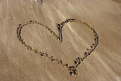 Beach heart. Heart drawn in the sand royalty free stock images