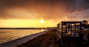 Beach in Hel. Baltic Sea sunset - Hel, Poland Stock Photos