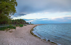Beach in Hel. Sunset at Baltic Sea - Hel, Poland Stock Image