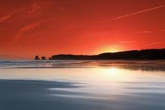 Hendaye beach sunrise Royalty Free Stock Photo