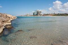 Beach in Herzliya Israel. View of the Mediterranean Sea beach resort Herzliya Israel Stock Photo