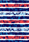 Beach hibiscus and stripes. Vector illustration of a hibiscus pattern in repeat Royalty Free Stock Image