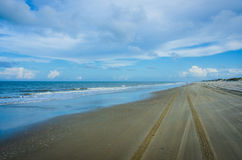 Beach highway in the Outer Banks. Highway 12 in Corolla in the Outer Banks, North Carolina becomes a beach road for 10 miles Royalty Free Stock Photo