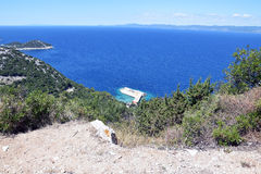 Beach from the hill on the island. Beach from the hill in Croatia Royalty Free Stock Images
