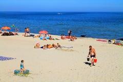 Beach holiday on the Baltic Sea. KULIKOVO, RUSSIA — JULY 19, 2014: Beach holiday on the Baltic Sea in the Kulikovo, Kaliningrad region Stock Photo