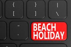 Beach Holiday on black keyboard Royalty Free Stock Photography