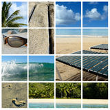 Beach Holiday Collage. Collage of beach items and scenic views Stock Photo