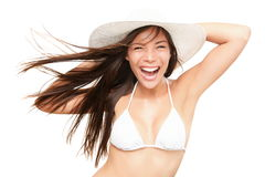 Beach holiday fun bikini young woman on white Stock Photography