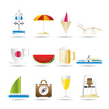Beach and holiday icons Royalty Free Stock Photography