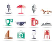 Beach and holiday icons Stock Images