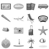 Beach holiday icons set, gray monochrome style Royalty Free Stock Images