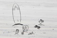 Beach holiday items Royalty Free Stock Photos