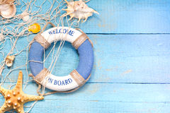 Beach holiday marine travel background concept on blue boards Stock Photos