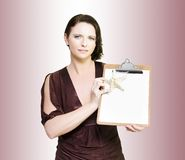 Beach Holiday Sales Woman With Clipboard Stock Images