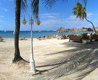 Beach holiday scenery. Panorama from the tropical Jamaica stock image