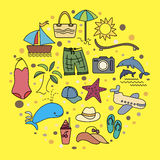 Beach holiday. Set of bright colored icons on a beach holiday Stock Photo