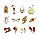 Beach holiday vector colored icons. Royalty Free Stock Photos