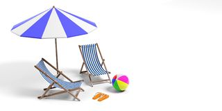Beach vacation equipment isolated on white background, copy space. 3d illustration. Beach holidays equipment isolated on white background, copy space.  Beach Royalty Free Stock Image