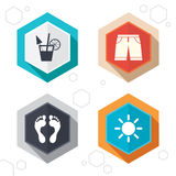 Beach holidays icons. Cocktail, human footprints Royalty Free Stock Photos