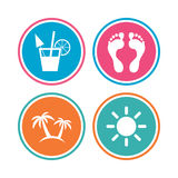 Beach holidays icons. Cocktail, human footprints. Royalty Free Stock Photos