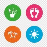 Beach holidays icons. Cocktail, human footprints. Stock Photos