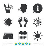 Beach holidays icons. Cocktail, human footprints. Royalty Free Stock Images