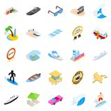 Beach holidays icons set, isometric style. Beach holidays icons set. Isometric set of 25 beach holidays vector icons for web isolated on white background Royalty Free Stock Photography