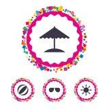 Beach holidays icons. Umbrella and Sunglasses. Royalty Free Stock Photo