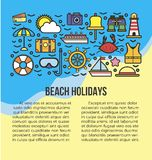Beach holidays information list vector illustration. Summer attribute icons Stock Images