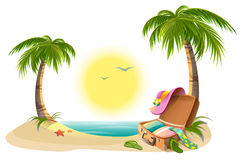 Beach holidays on summer vacations. Tropical sun, sea, palm trees, sand and open suitcase Royalty Free Stock Images